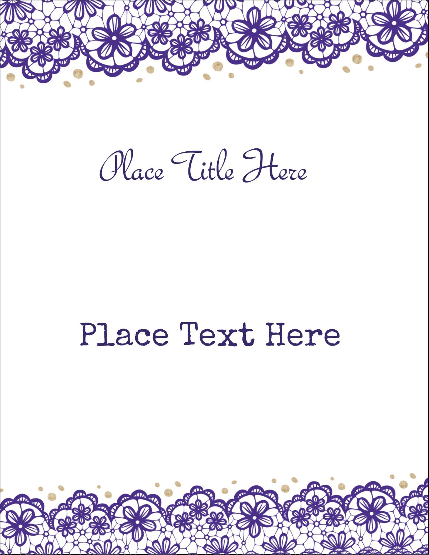 """8½"""" x 11"""" T-Shirt-Tranfers - Purple Lace Wedding"""