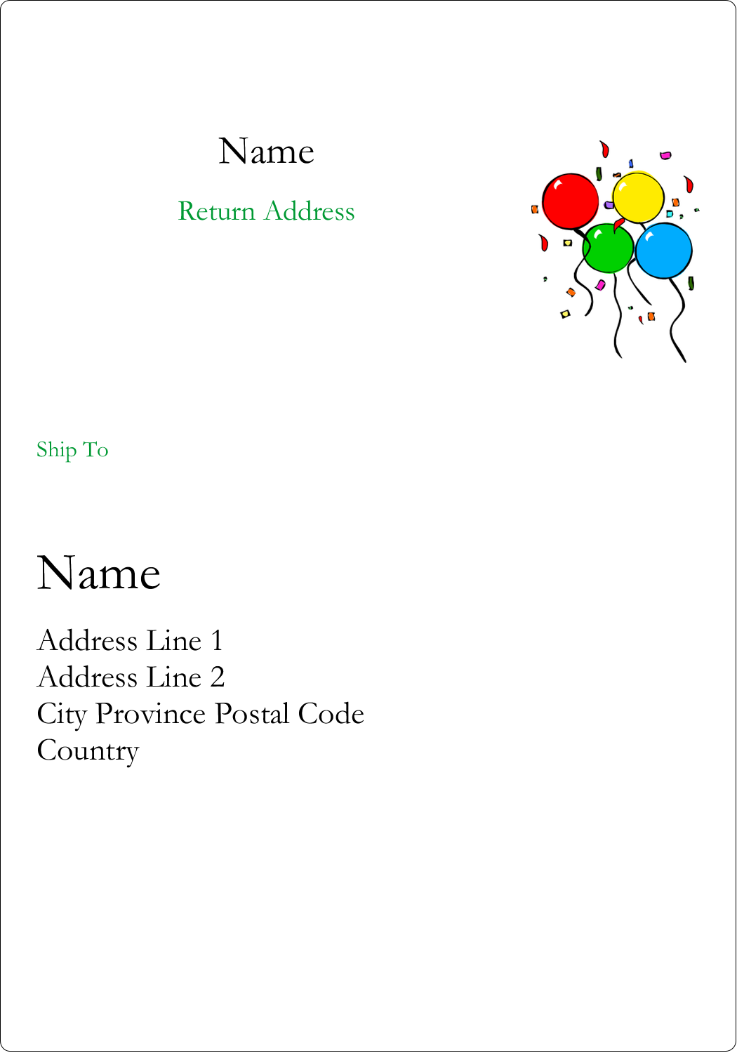 """5"""" x 3½"""" Shipping Label - Four Balloons"""
