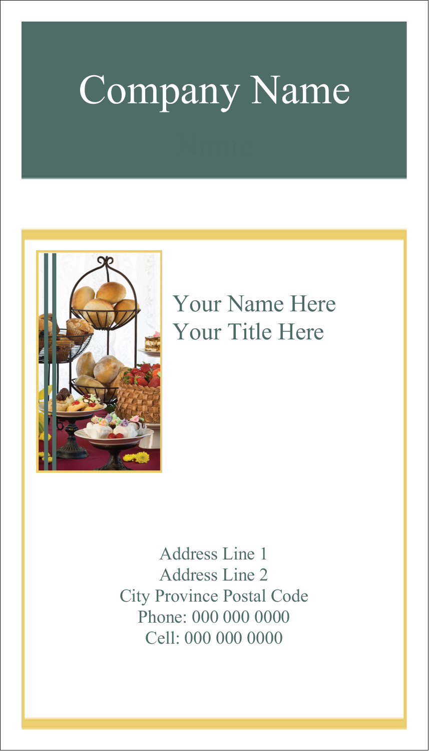 """3½"""" x 2"""" Business Card - Desserts and Breads"""