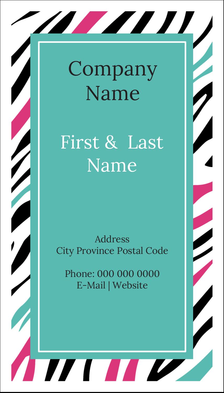 "3½"" x 2"" Business Card - Animal Prints"