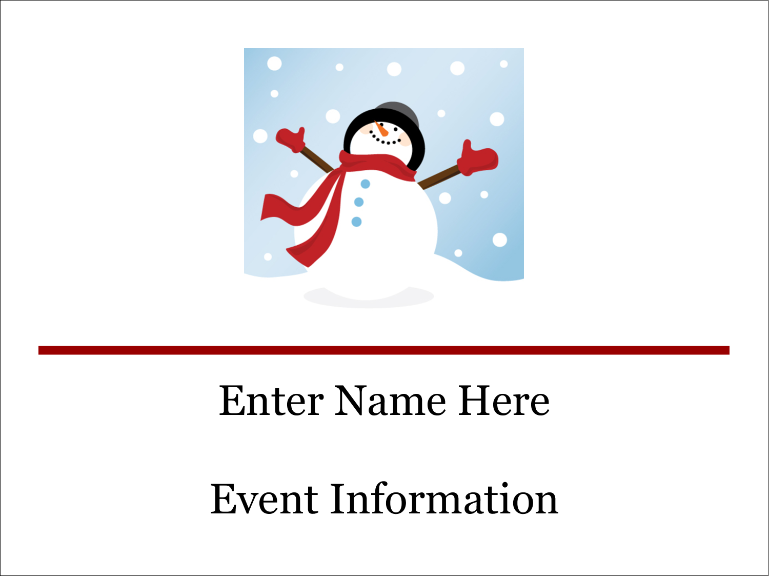 Frosty Snowman predesigned template for your next holiday ...