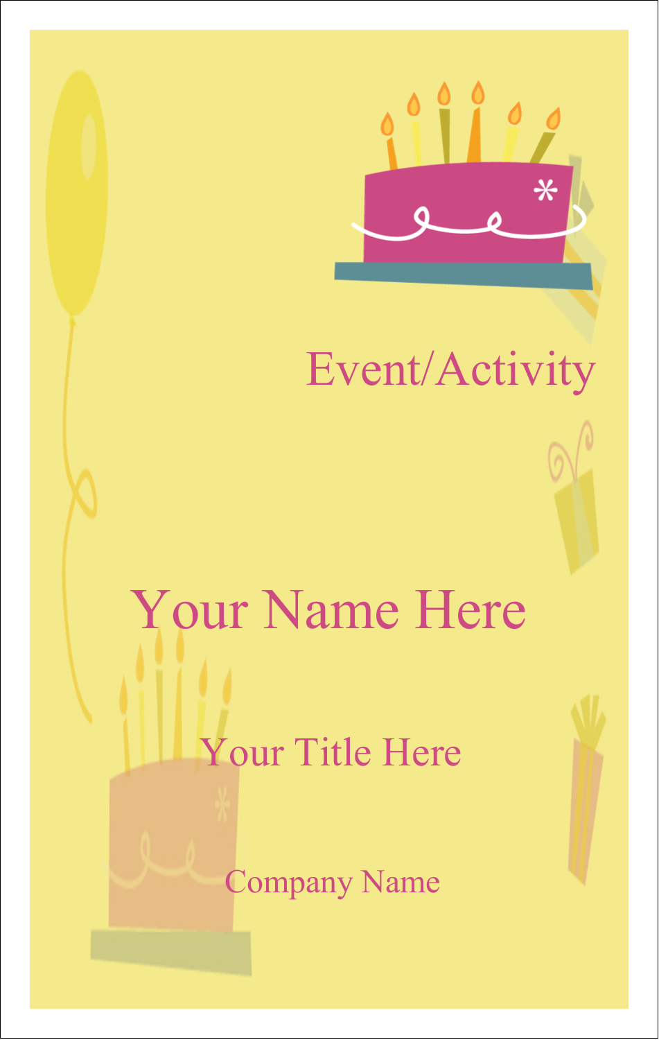 3½ x 2¼ Name Tags - Birthday Party