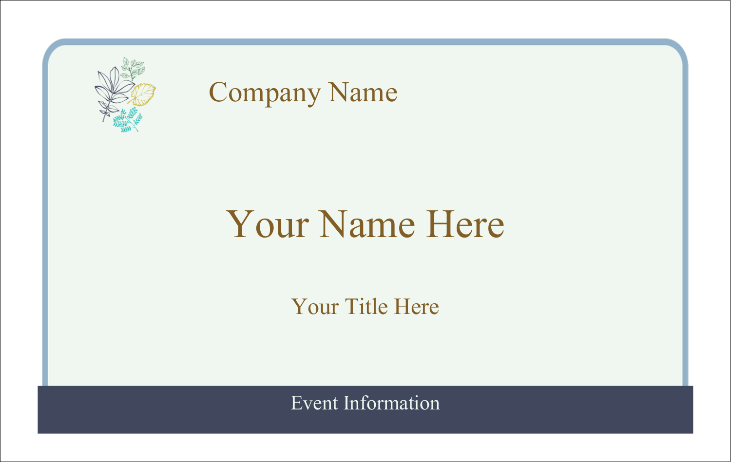 2¼ x 3½ Name Tags - Pastel Foliage