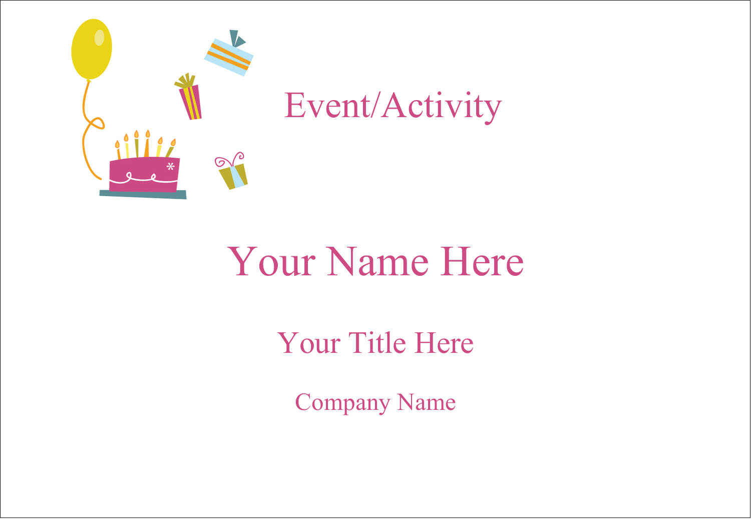 "3⅜"" x 2⅓"" Name Badge - Birthday Party"