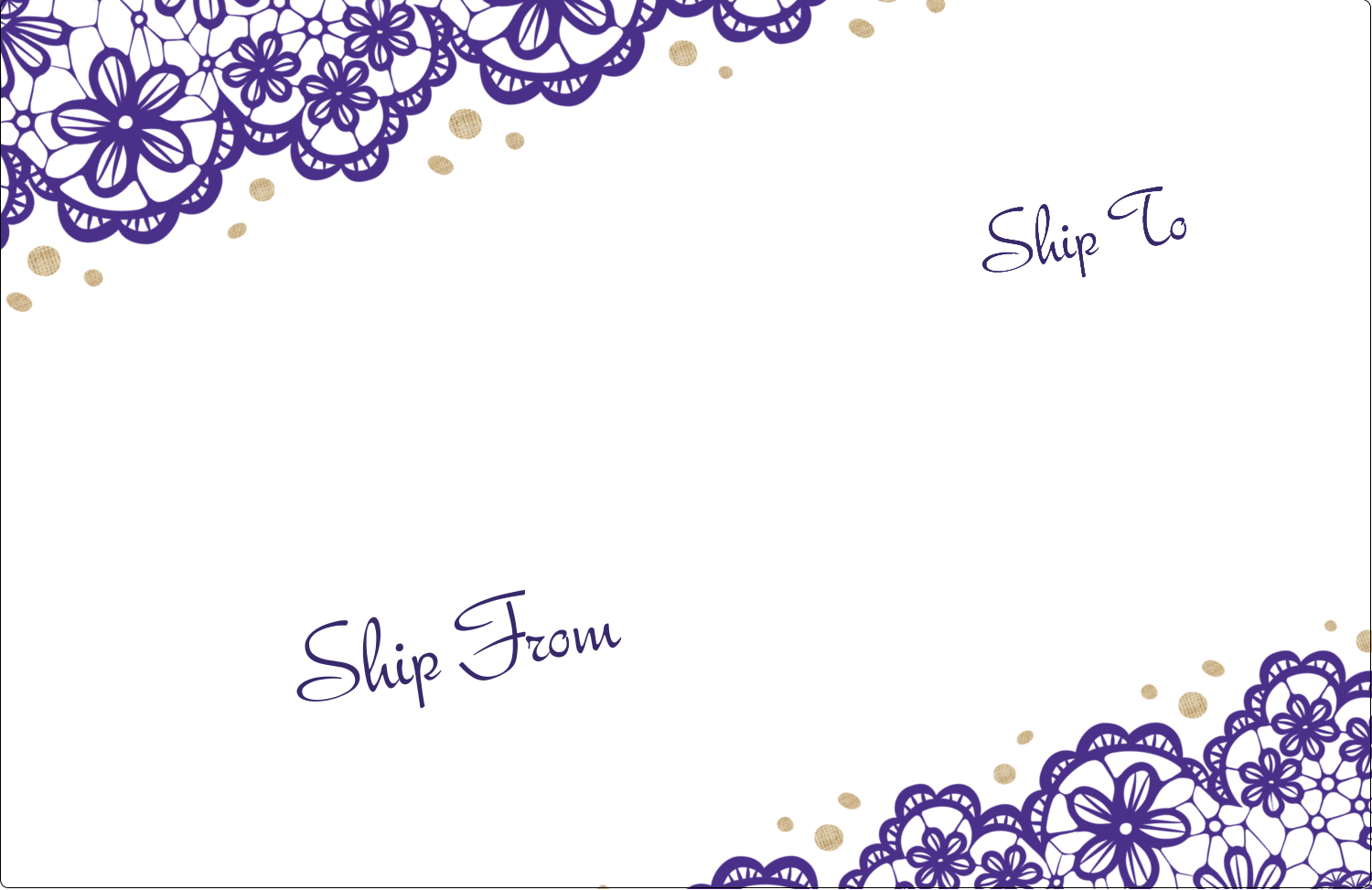 "5½"" x 8½"" Shipping Label - Purple Lace Wedding"