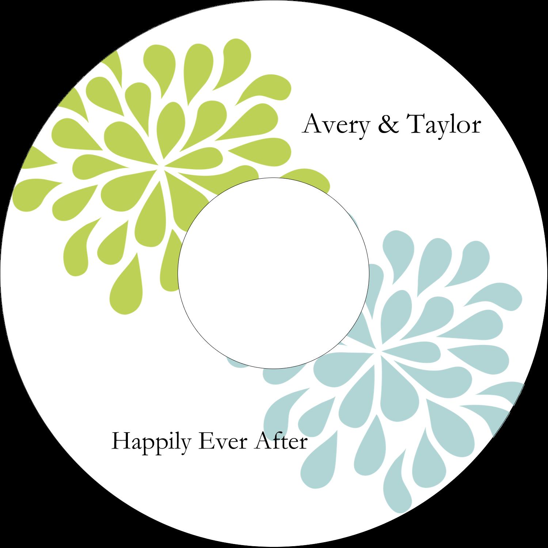 "4.65"" CD-DVD Label - Blue Green Blooms"