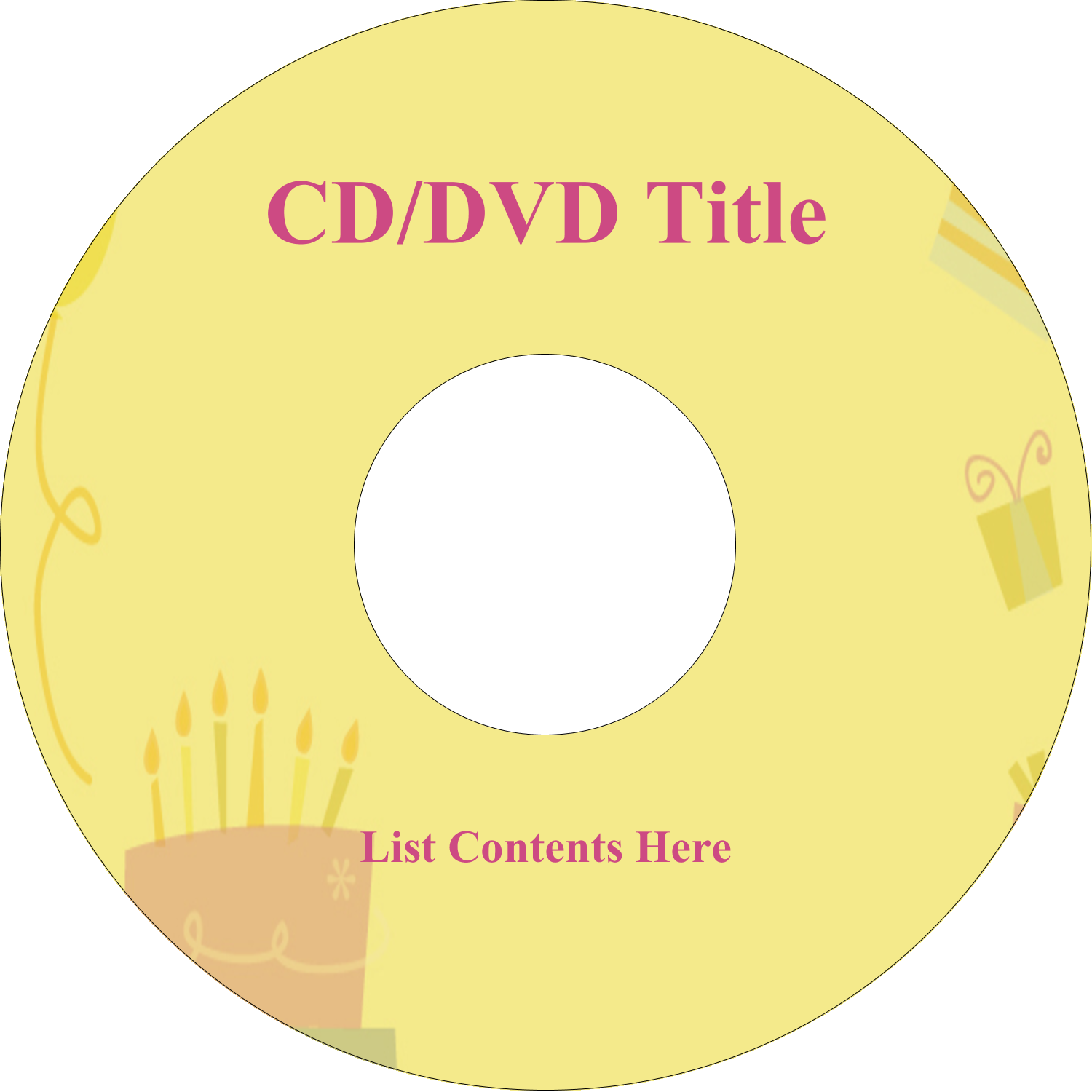 "4.65"" CD-DVD Label - Birthday Party"
