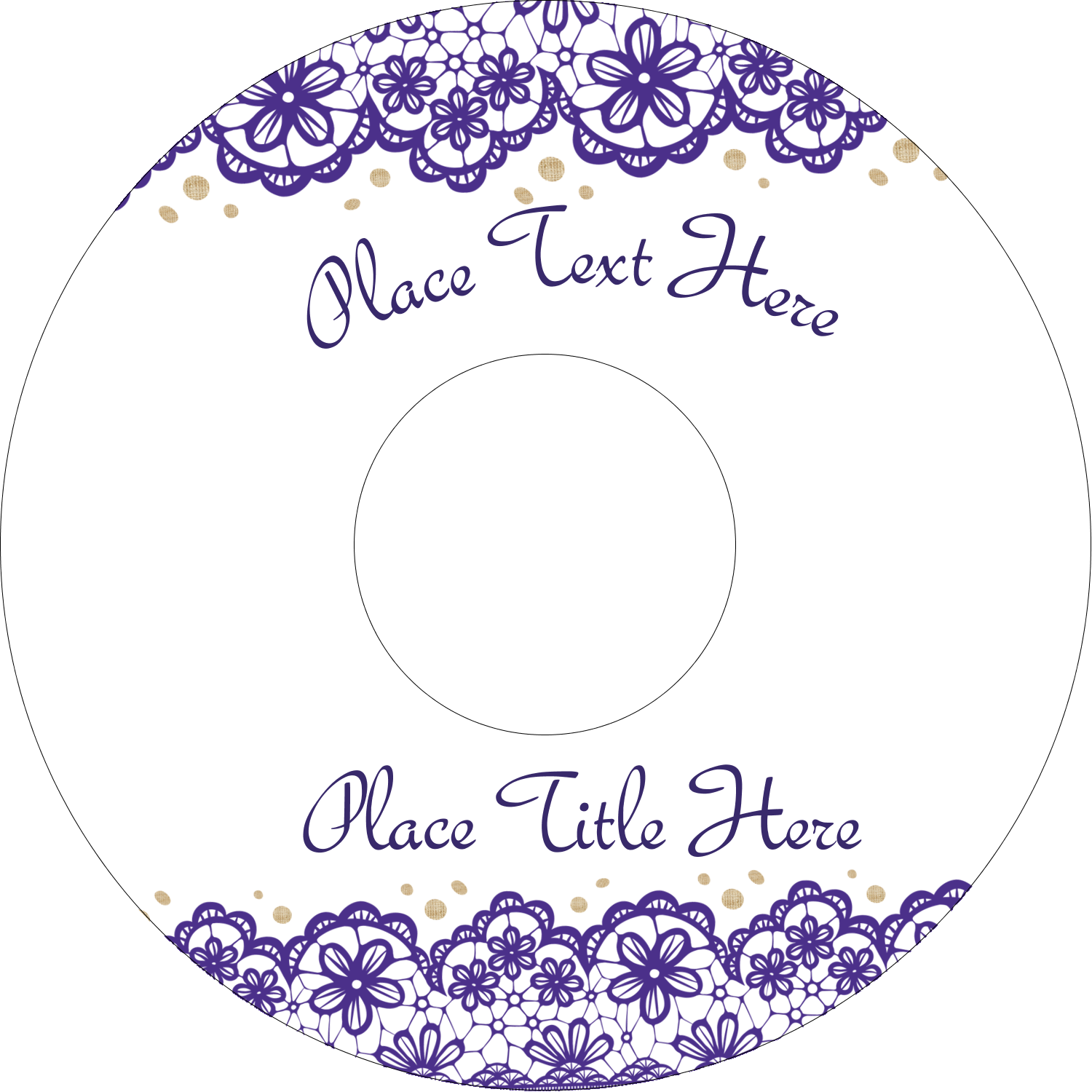 "4.65"" CD-DVD Label - Purple Lace Wedding"