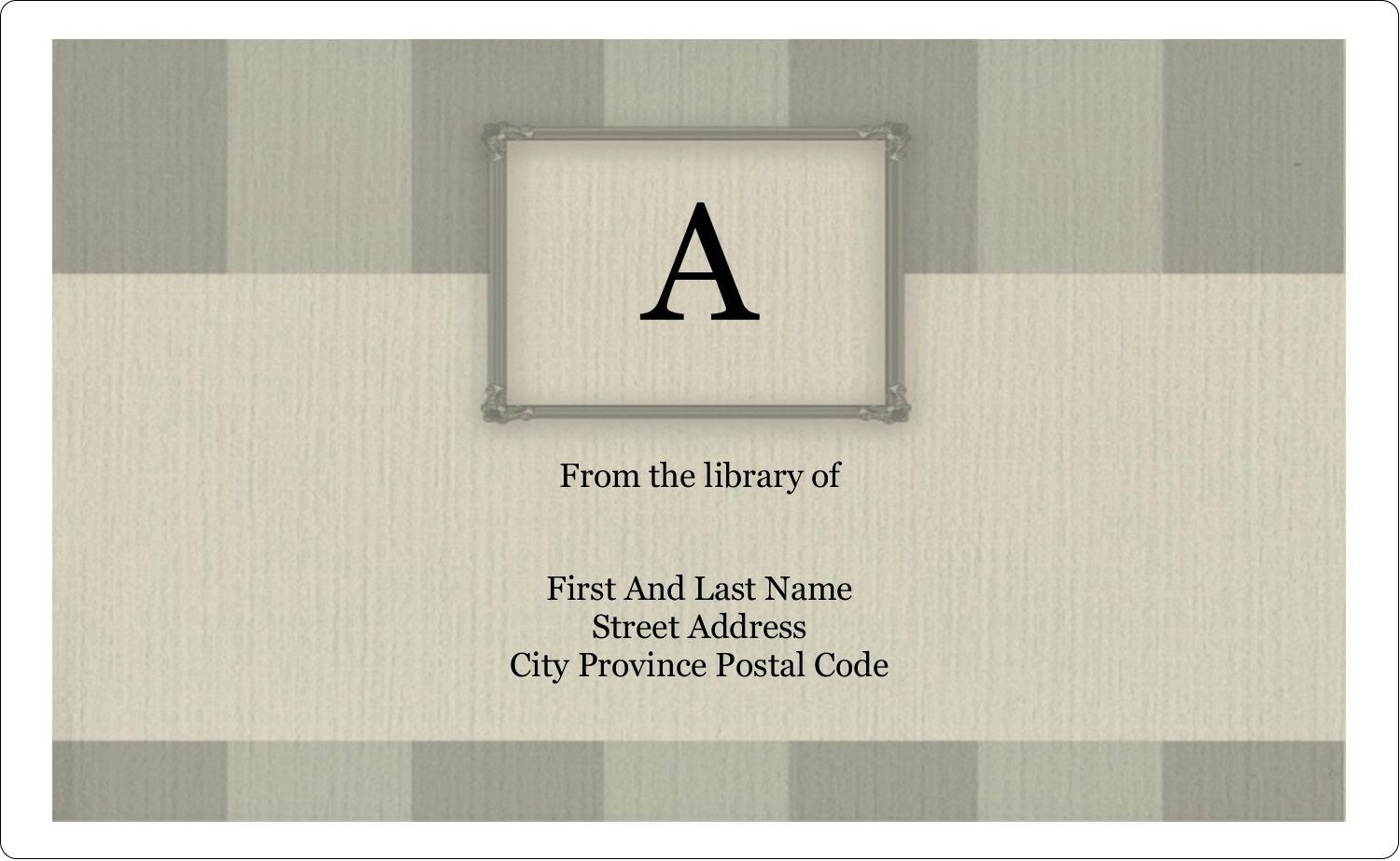 "8⅛"" x 5"" Shipping Label - Bookplate Initial"