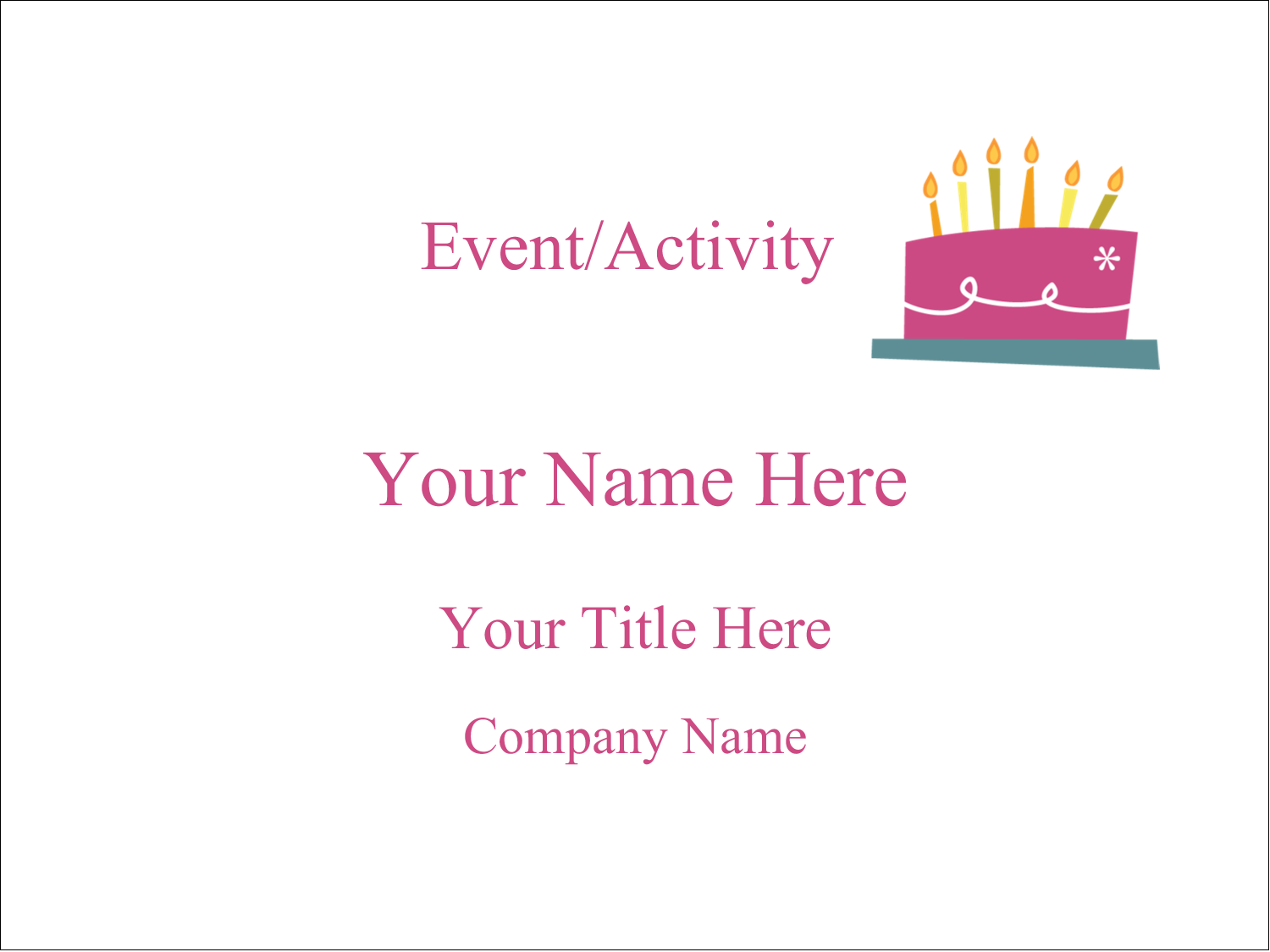 "4"" x 3"" Name Tags - Birthday Party"