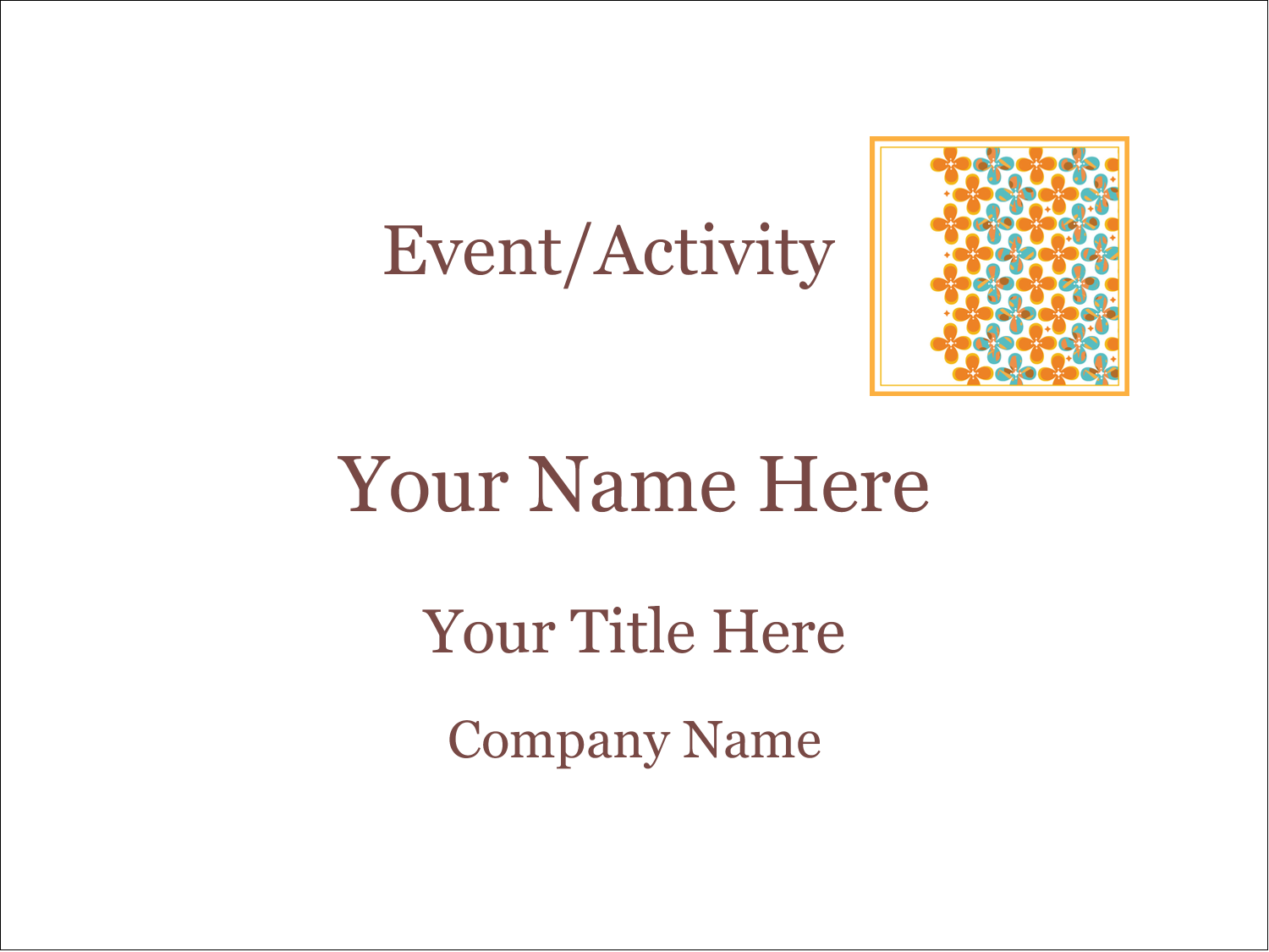 """4"""" x 3"""" Name Tags - Floral Pattern"""