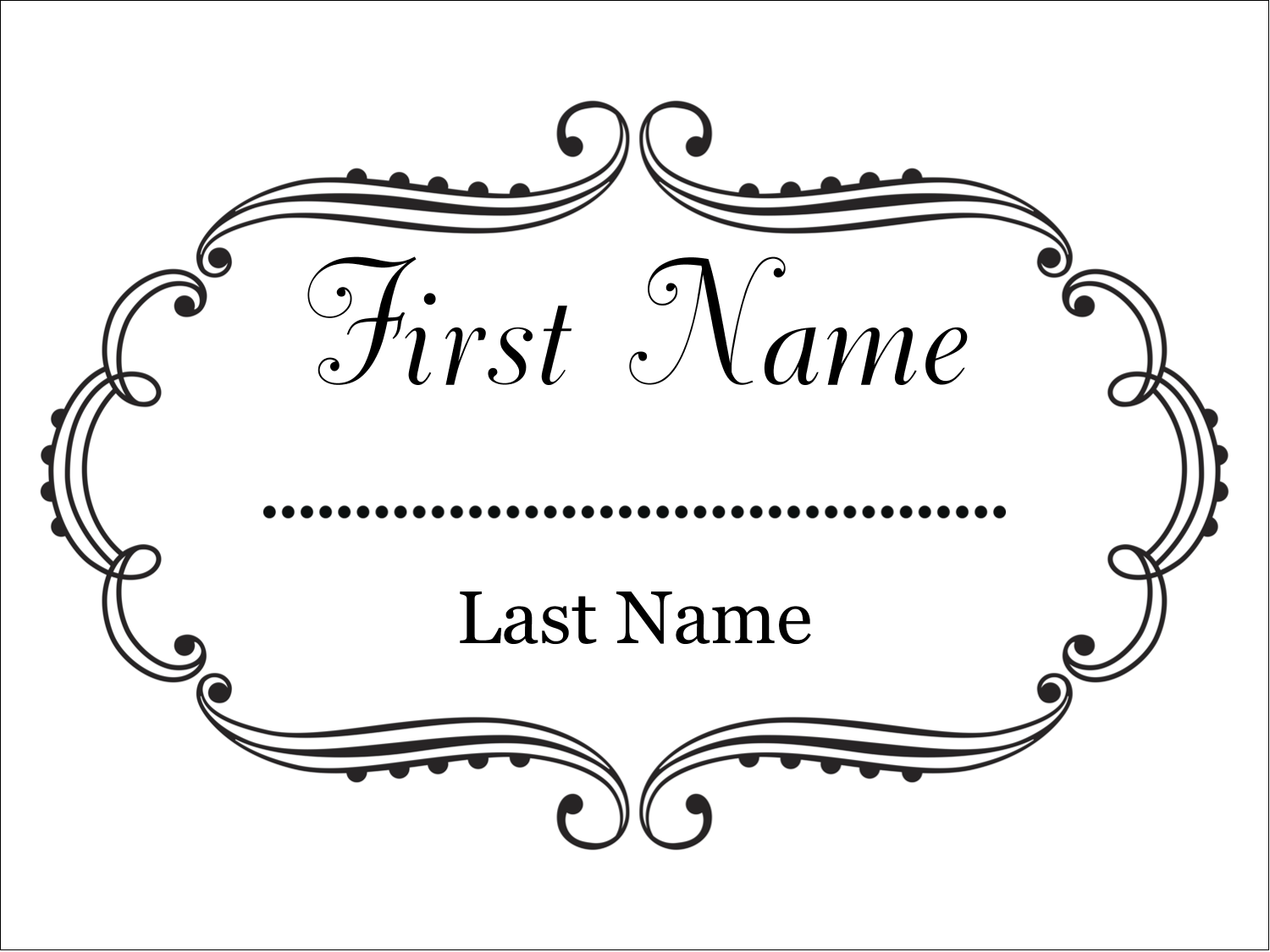 "4"" x 3"" Name Tags - Martha Stewart's Whimsical Wedding"