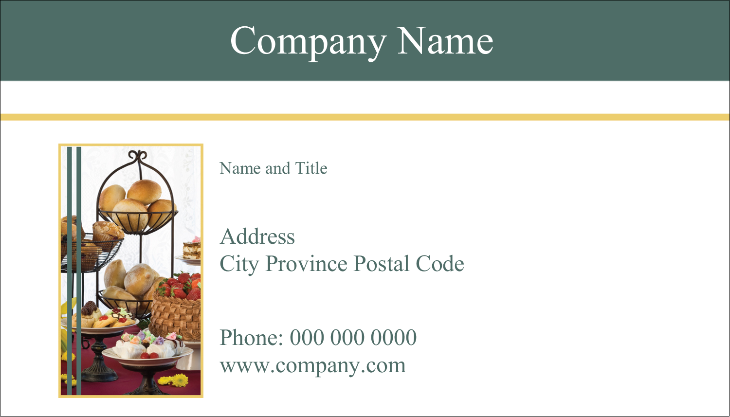 "2"" x 3½"" Business Card - Desserts and Breads"