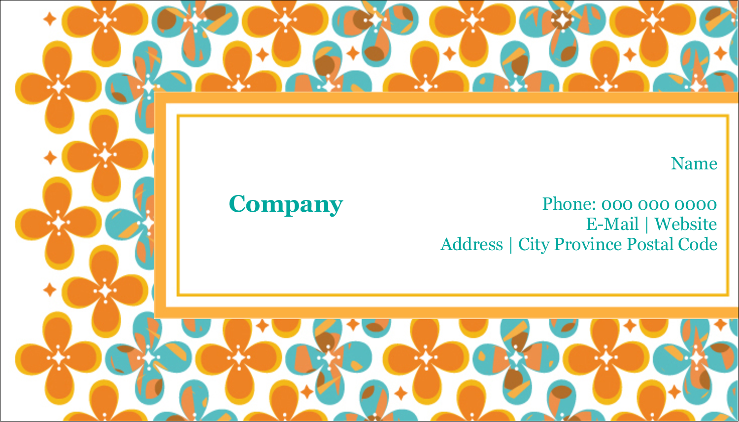 "2"" x 3½"" Business Card - Floral Pattern"