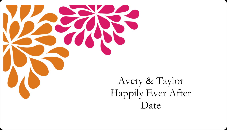 """2"""" x 3½"""" Business Card - Bridal Shower Pink Orange"""