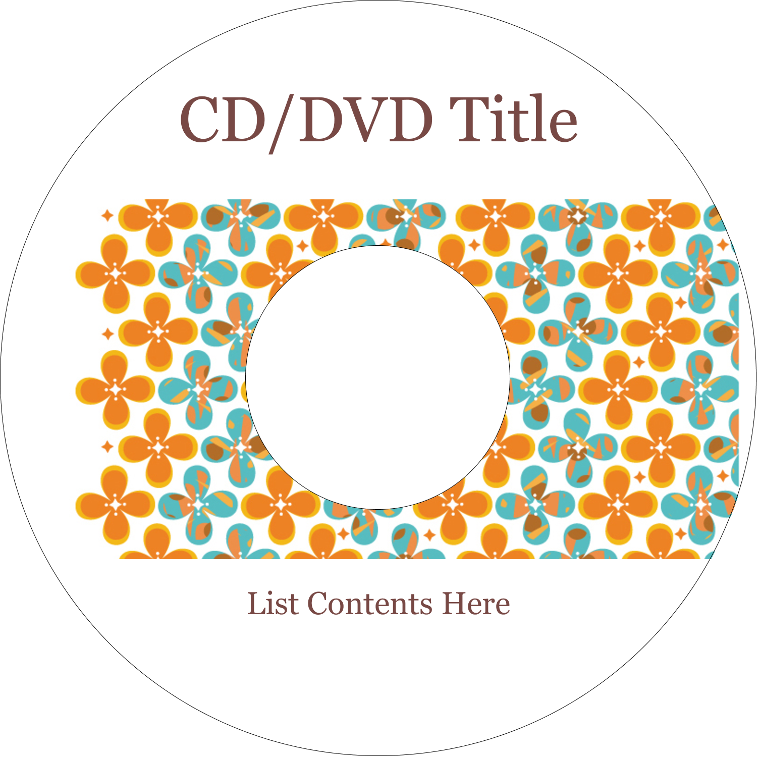CD-DVD Label - Floral Pattern