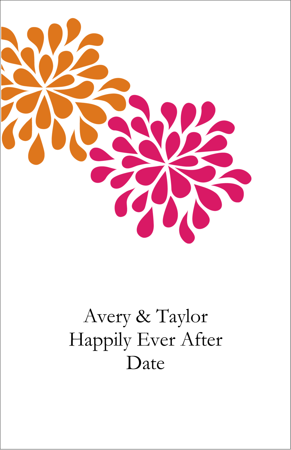 "5"" x 8½"" Half Fold Card - Bridal Shower Pink Orange"