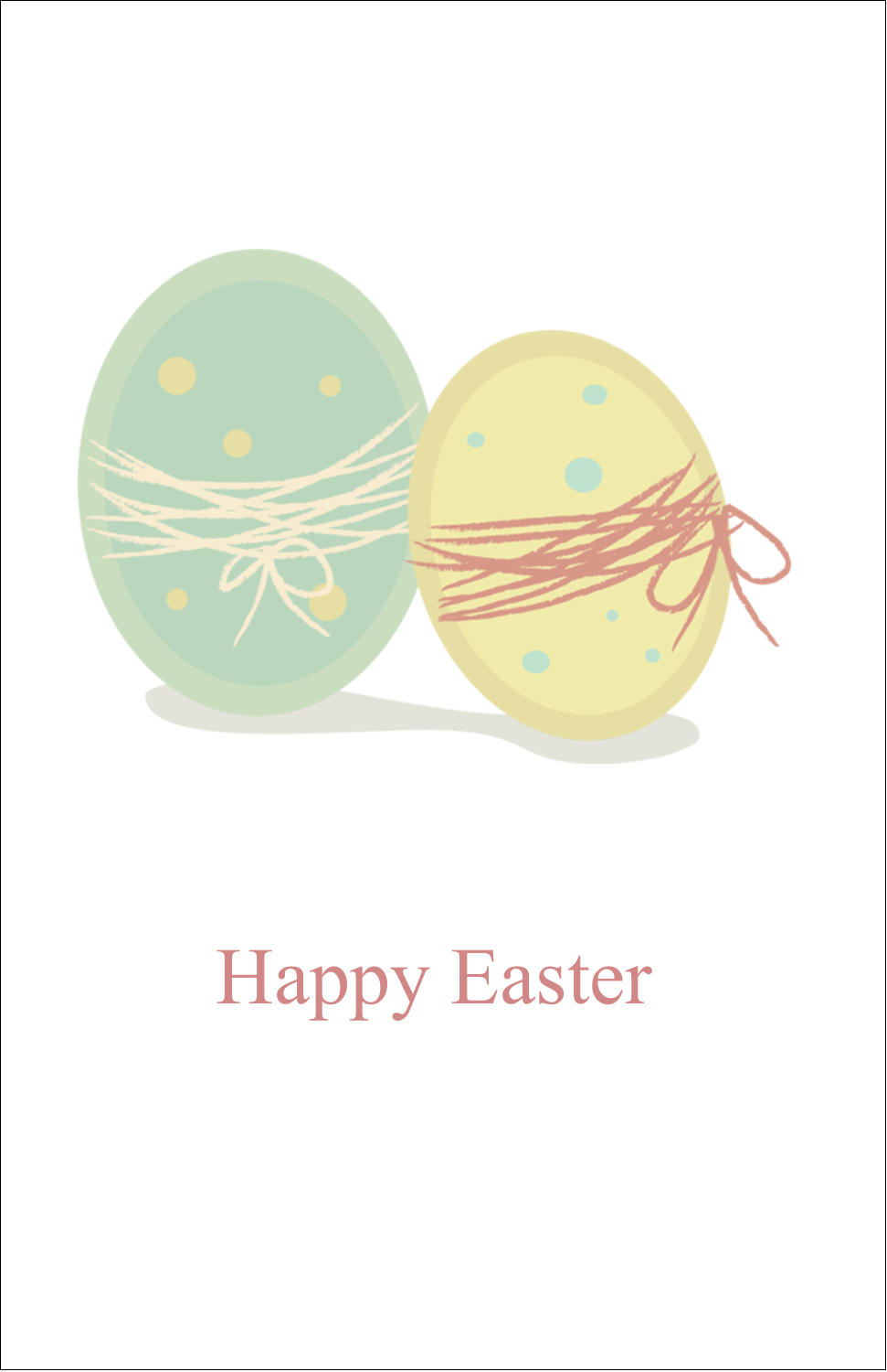"5"" x 8½"" Half Fold Card - Paired Eggs"