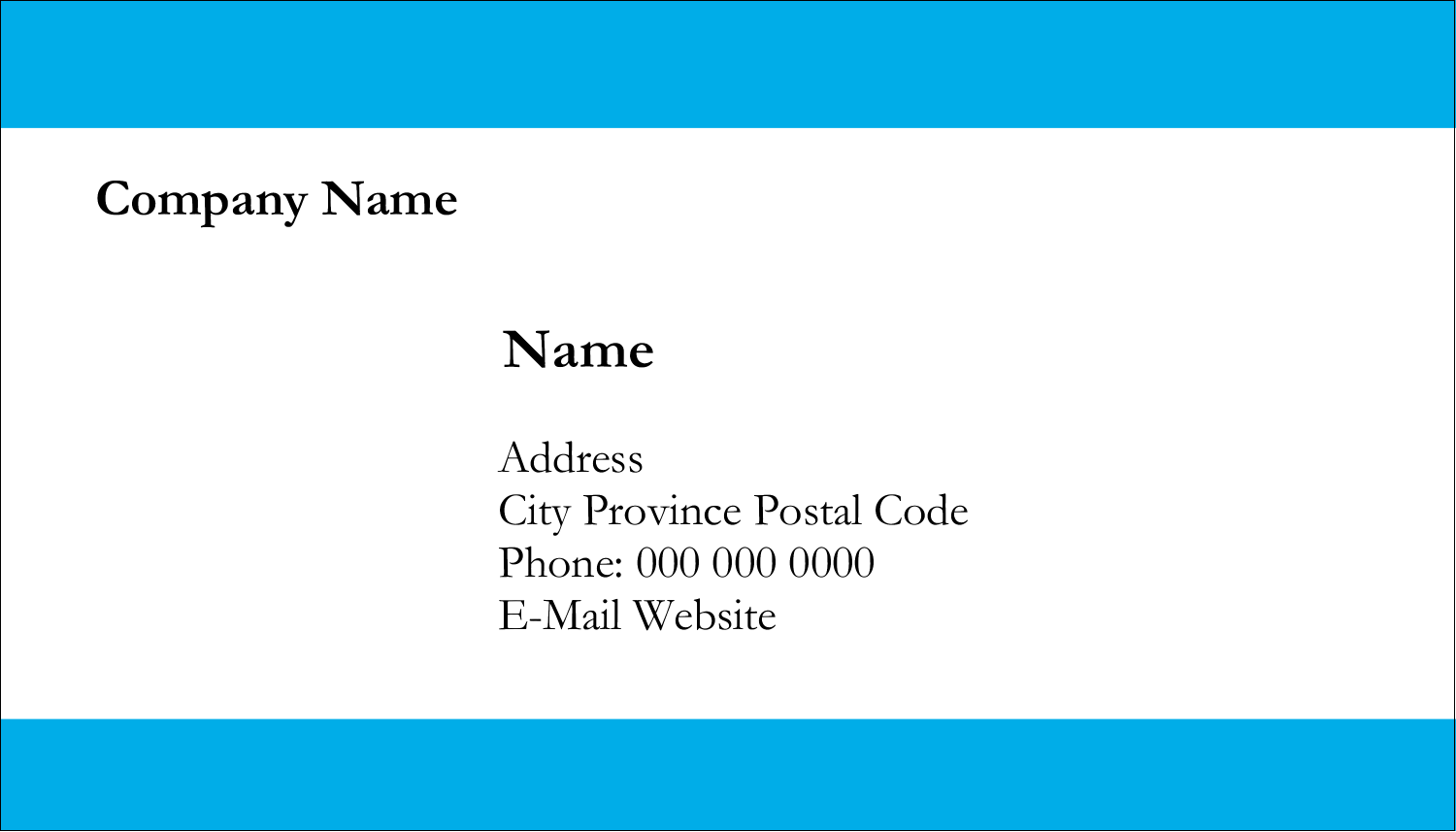 "2"" x 3½"" Business Card - Blue Bar"