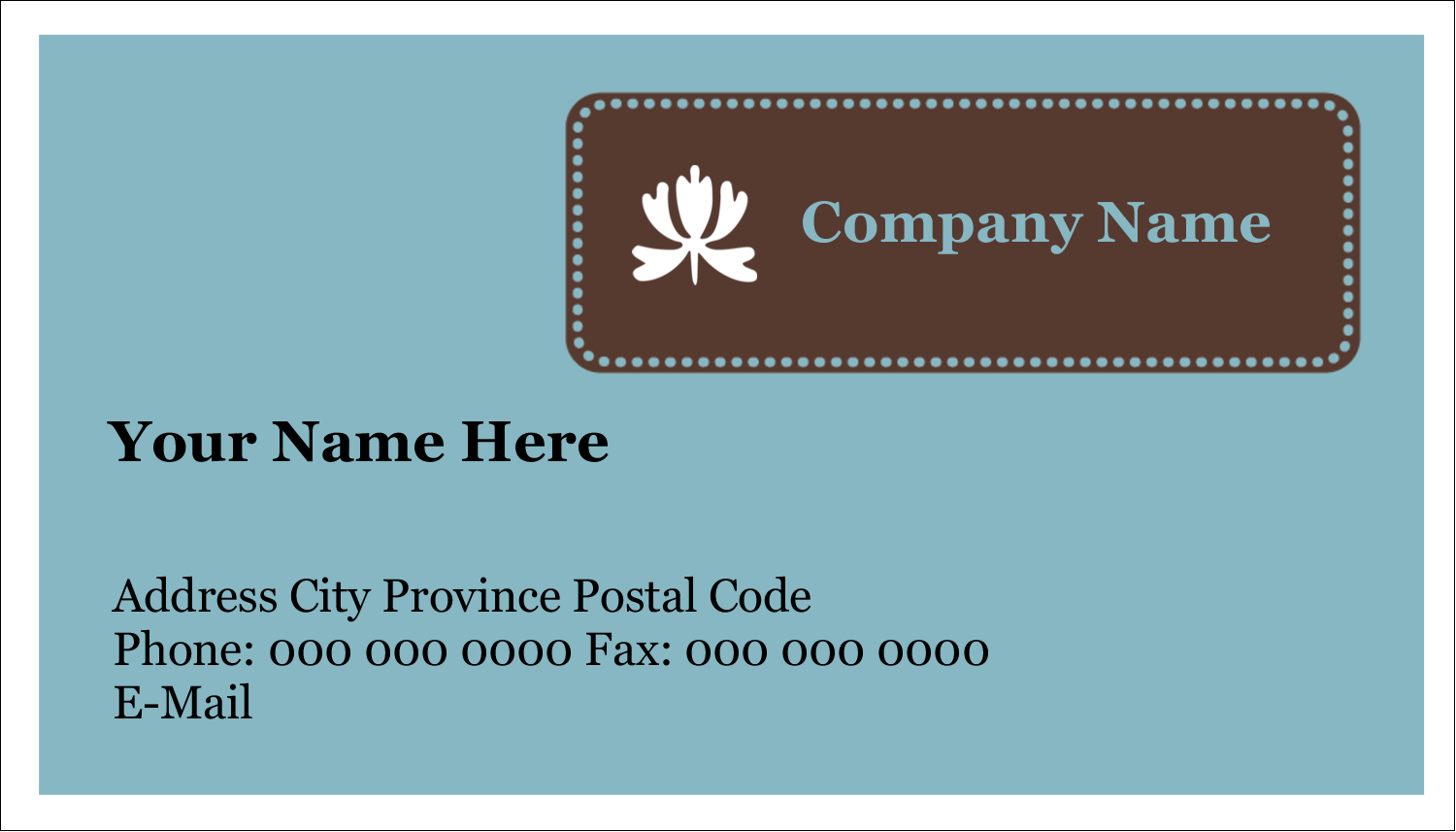 "2"" x 3½"" Business Card - Blue Brown Border"