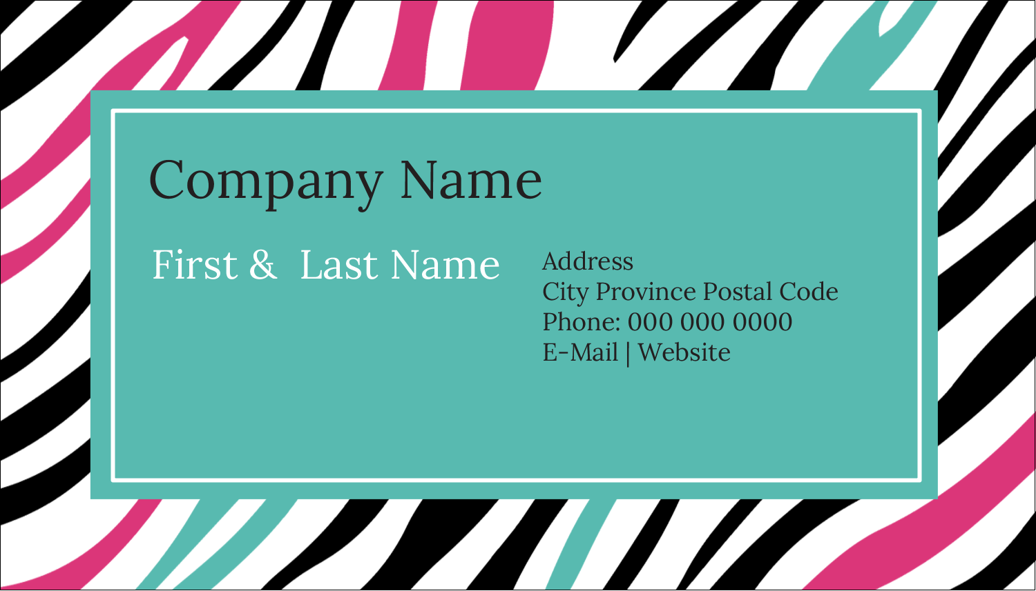 "2"" x 3½"" Business Card - Animal Prints"