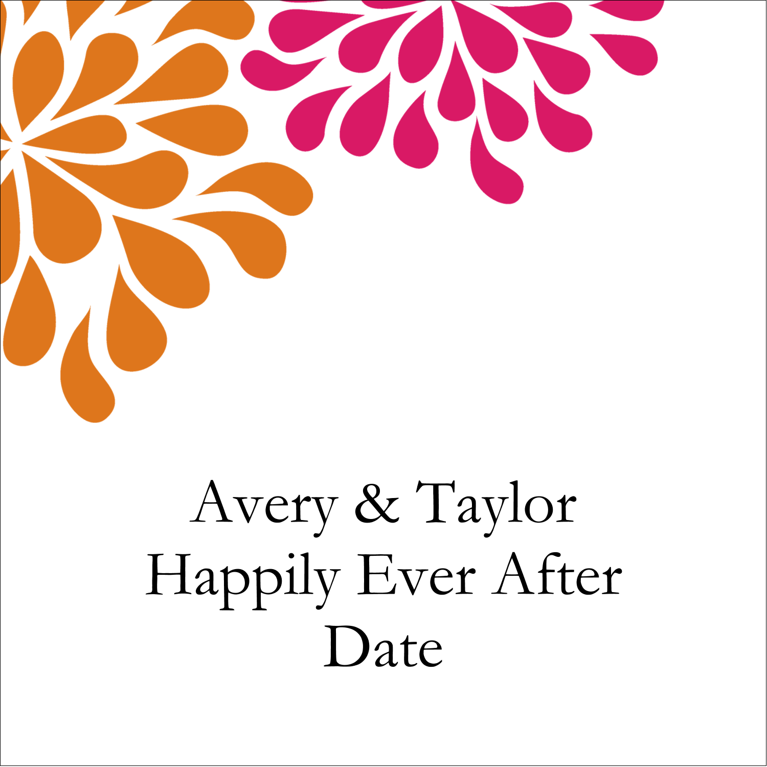 "2"" x 2"" Square Label - Bridal Shower Pink Orange"
