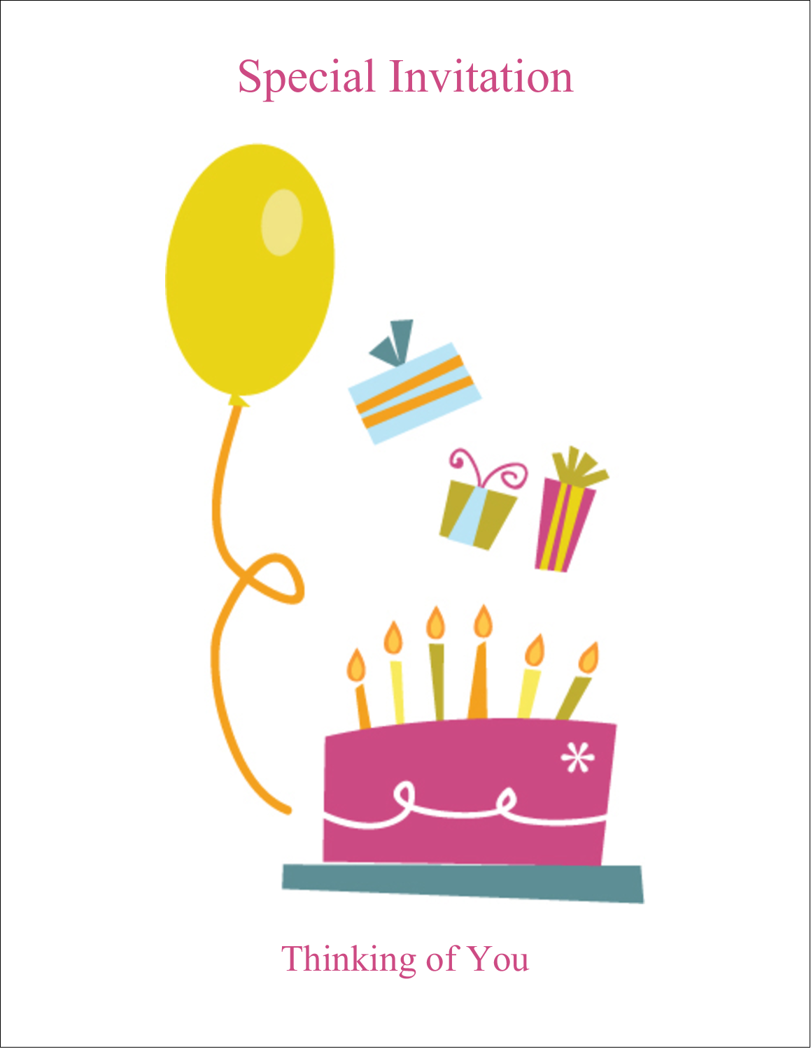 "4¼"" x 5½"" Note Card - Birthday Party"
