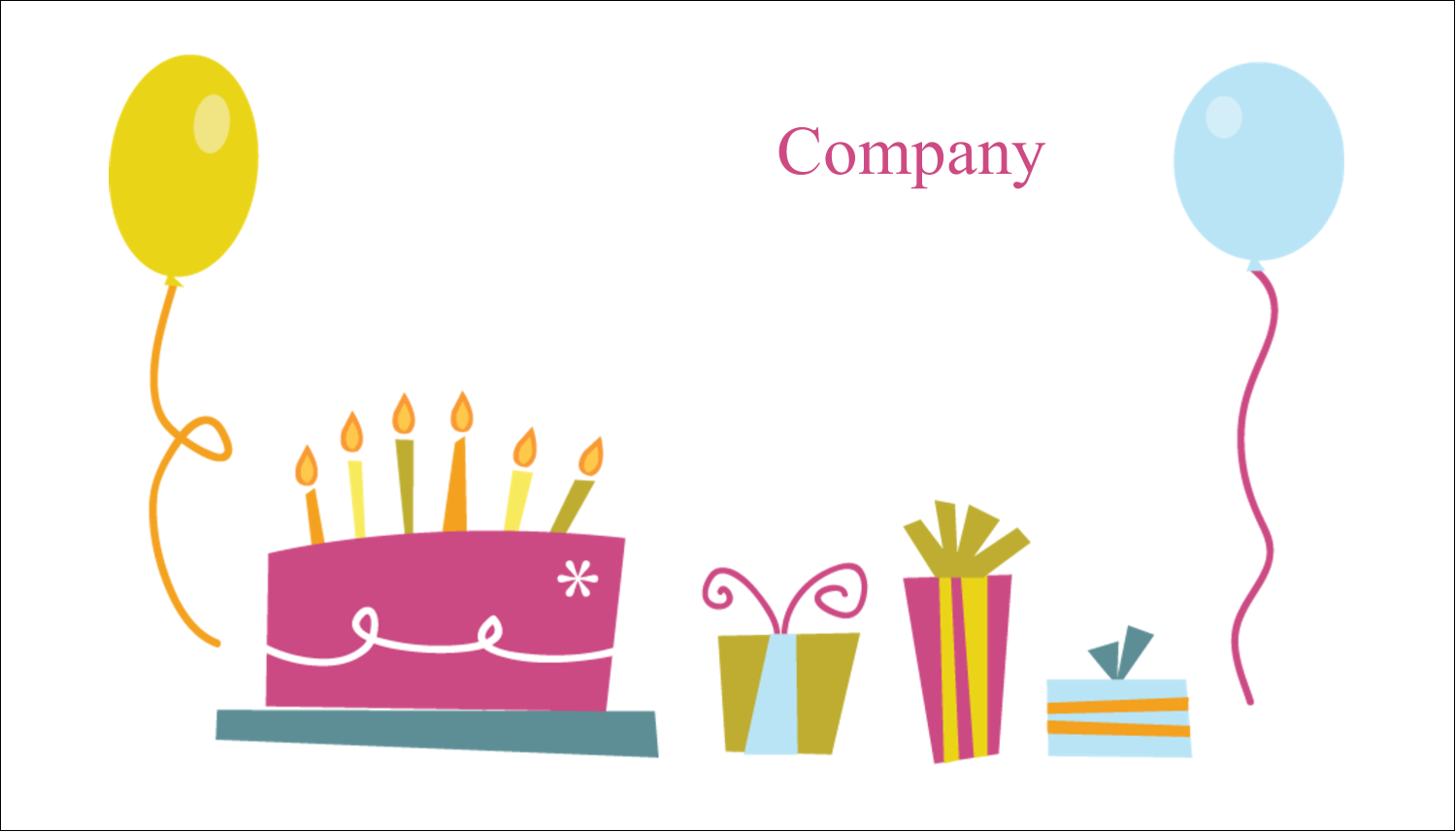 """2"""" x 3½"""" Business Card - Birthday Party"""