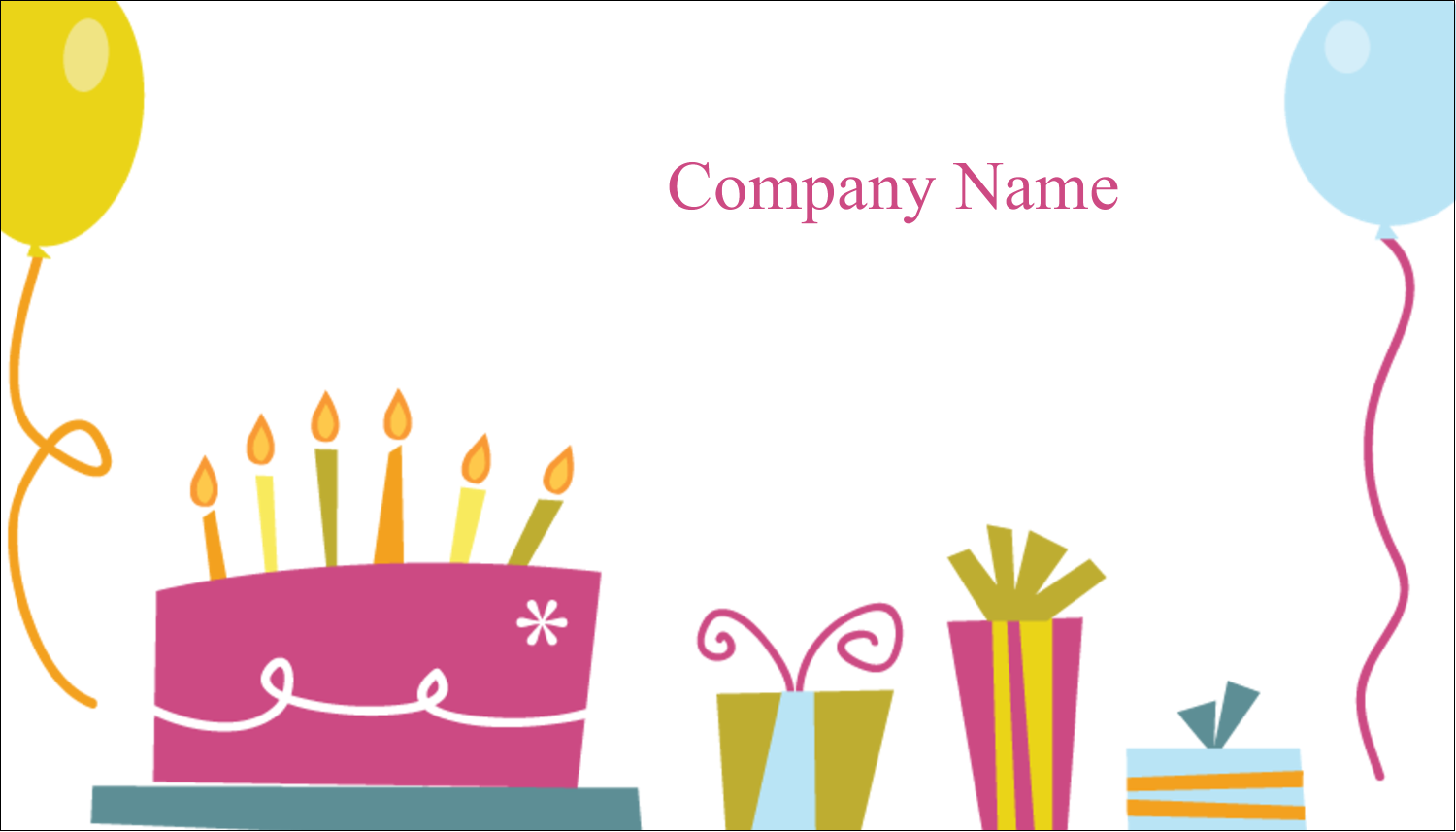 "2"" x 3½"" Business Card - Birthday Party"