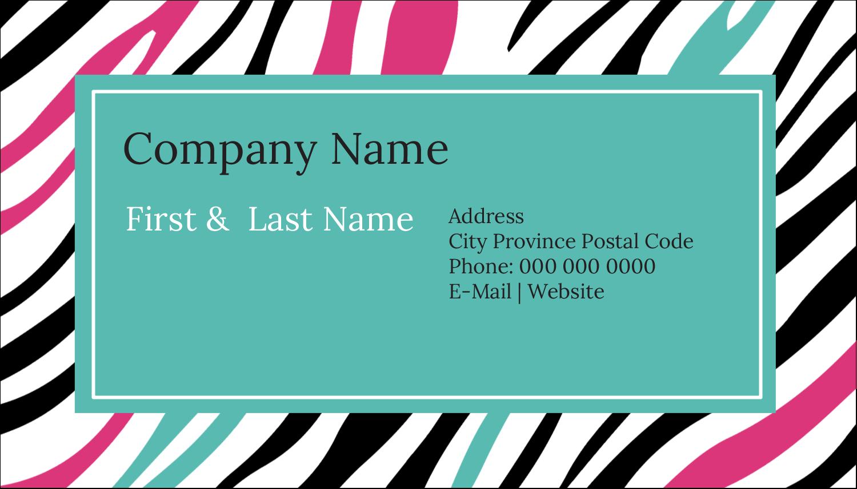 "2"" x 3½"" Business Card - Animal Prints"