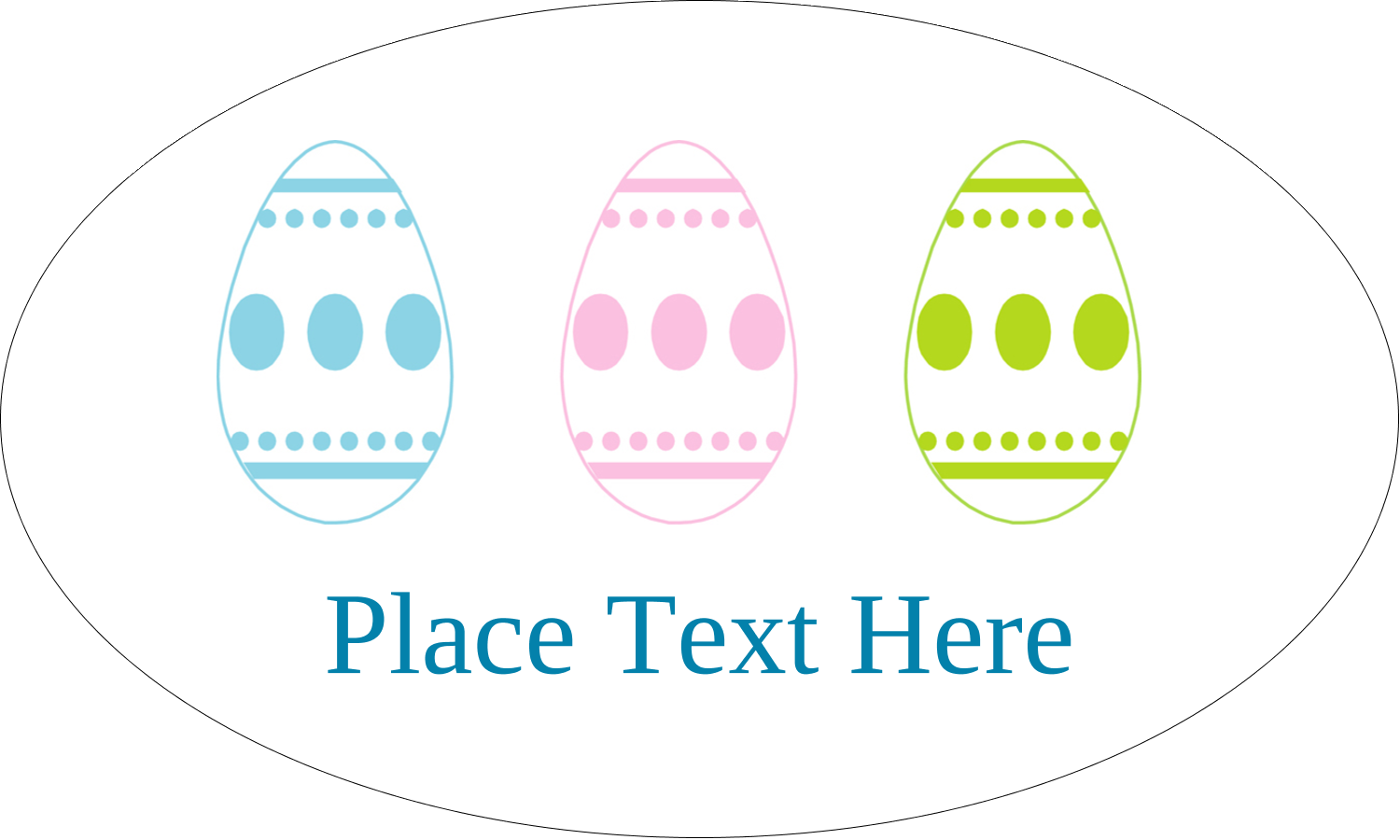 """1½"""" x 2½"""" Oval Glossy Label - Easter Egg Trio"""