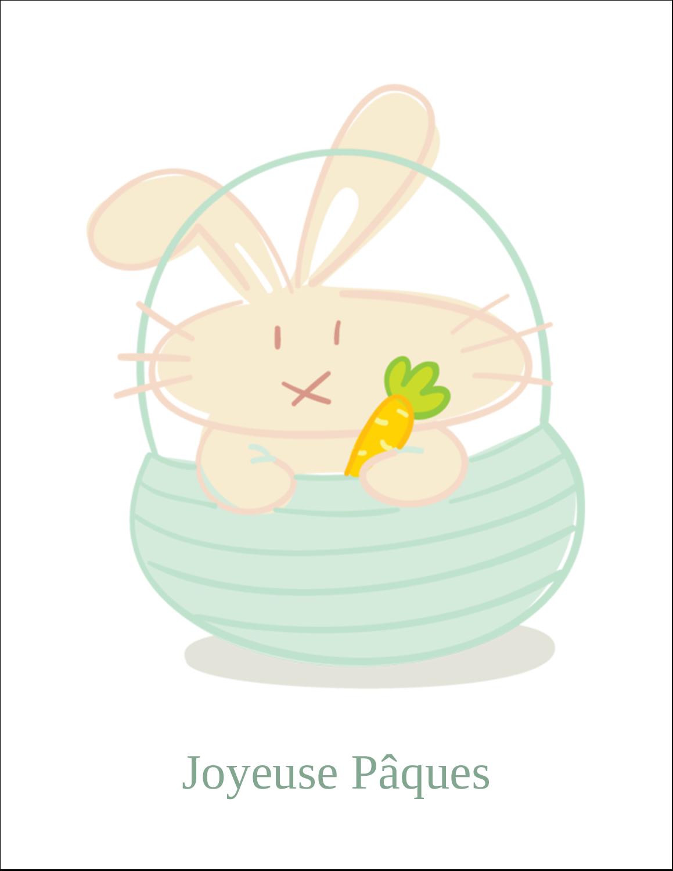 """8½"""" x 11"""" Cartes Et Articles D'Artisanat Imprimables - Panier de lapin"""