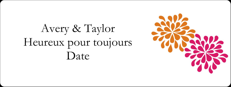 """4"""" x 3⅓"""" Étiquettes D'Identification - Fête prénuptiale en rose et orange"""