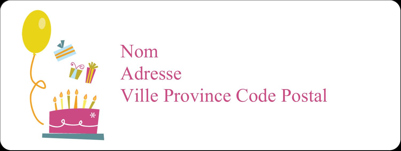 """1½"""" x 4"""" Étiquettes D'Adresse - Fête d'anniversaire"""