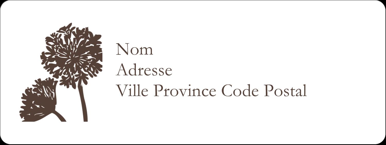 """1½"""" x 4"""" Étiquettes D'Adresse - Silhouette de fleur"""