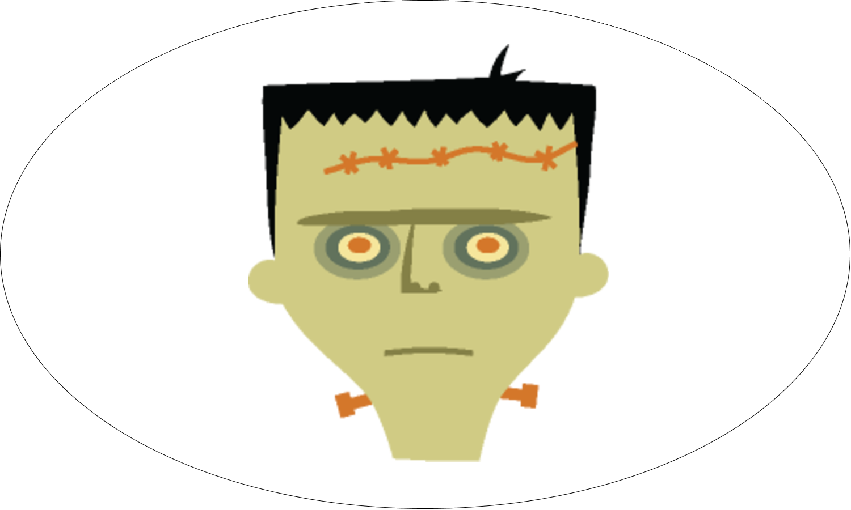 """1½"""" x 2½"""" Étiquettes ovales - Frankenstein et la mariée"""