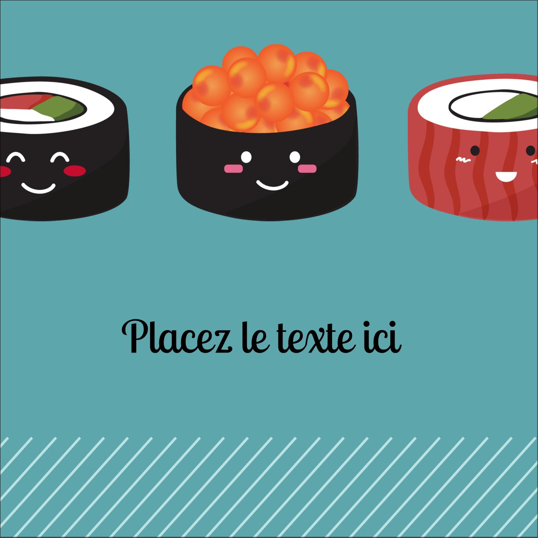 """1½"""" x 1½"""" Étiquettes carrées - Émoticônes de sushis"""