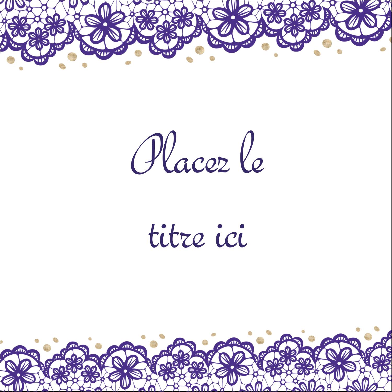 """2"""" x 2"""" Étiquettes carrées - Mariage en dentelle violette"""