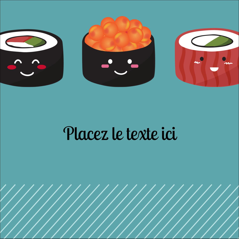 """2"""" Diameter Étiquettes rondes - Émoticônes de sushis"""