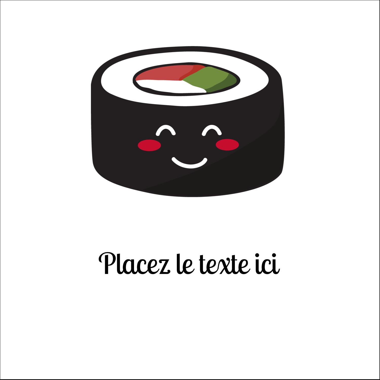 """9¾"""" x 1¼"""" Étiquettes enveloppantes - Émoticônes de sushis"""