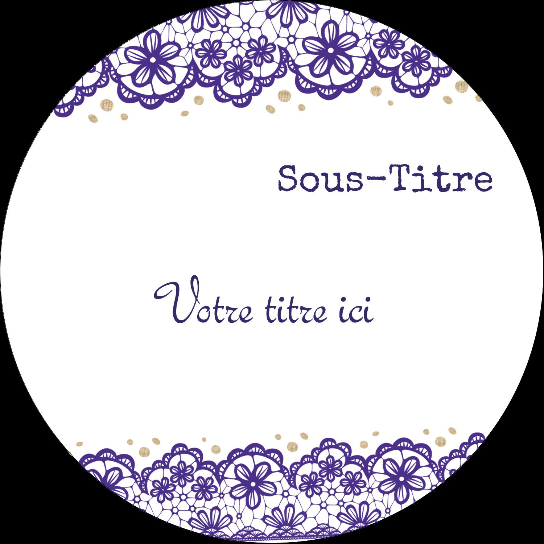 """2½"""" Diameter Étiquettes rondes - Mariage en dentelle violette"""