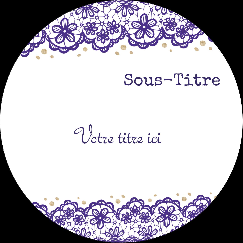 """3"""" x 2¼"""" Étiquettes arrondies - Mariage en dentelle violette"""