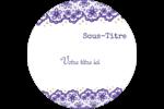 Mariage en dentelle violette Étiquettes arrondies - gabarit prédéfini. <br/>Utilisez notre logiciel Avery Design & Print Online pour personnaliser facilement la conception.