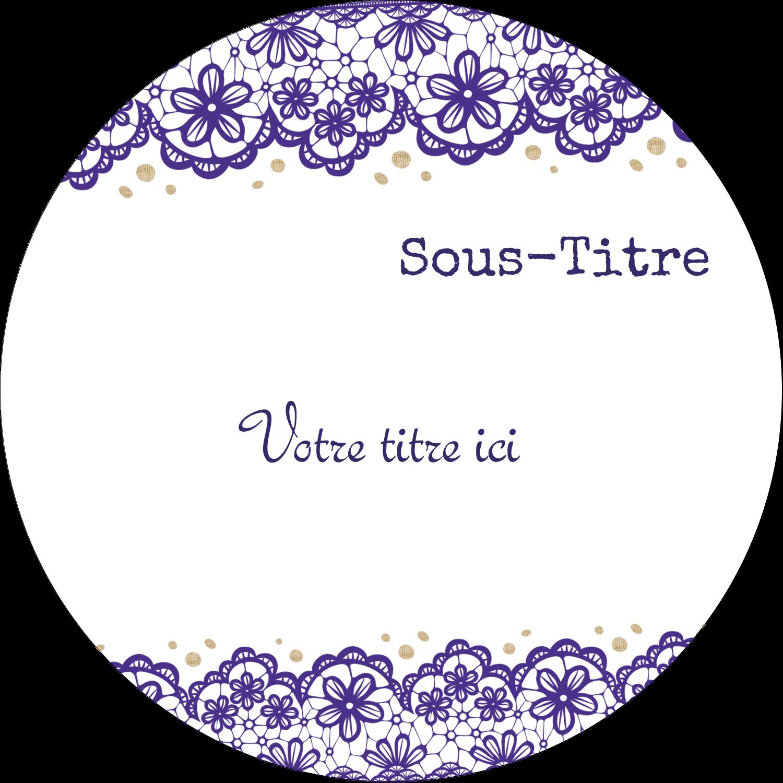 """3-7/16"""" x 15/16"""" Étiquettes de classement - Mariage en dentelle violette"""