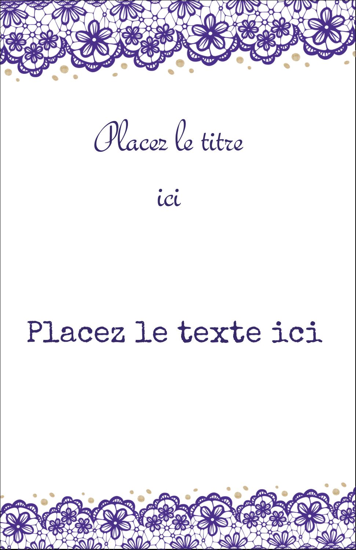 """5½"""" x 8½"""" Binder Insert Reliures - Mariage en dentelle violette"""