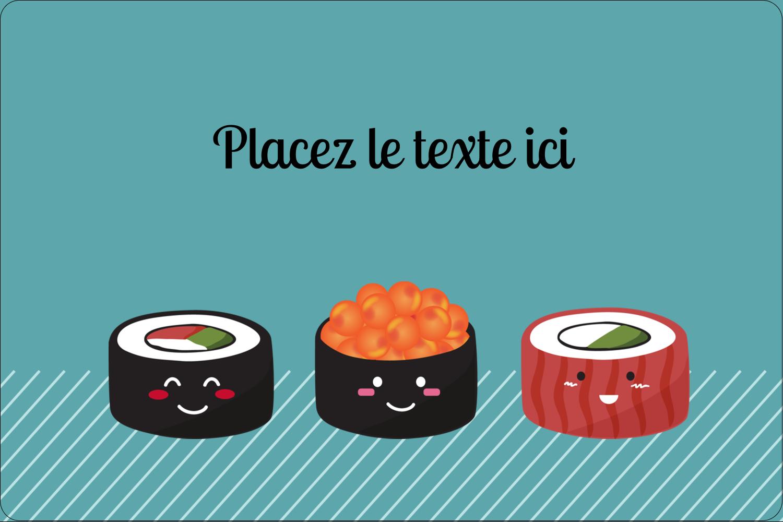 """3"""" x 3¾"""" Étiquettes rectangulaires - Émoticônes de sushis"""