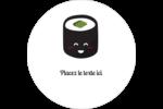 Émoticônes de sushis Étiquettes arrondies - gabarit prédéfini. <br/>Utilisez notre logiciel Avery Design & Print Online pour personnaliser facilement la conception.