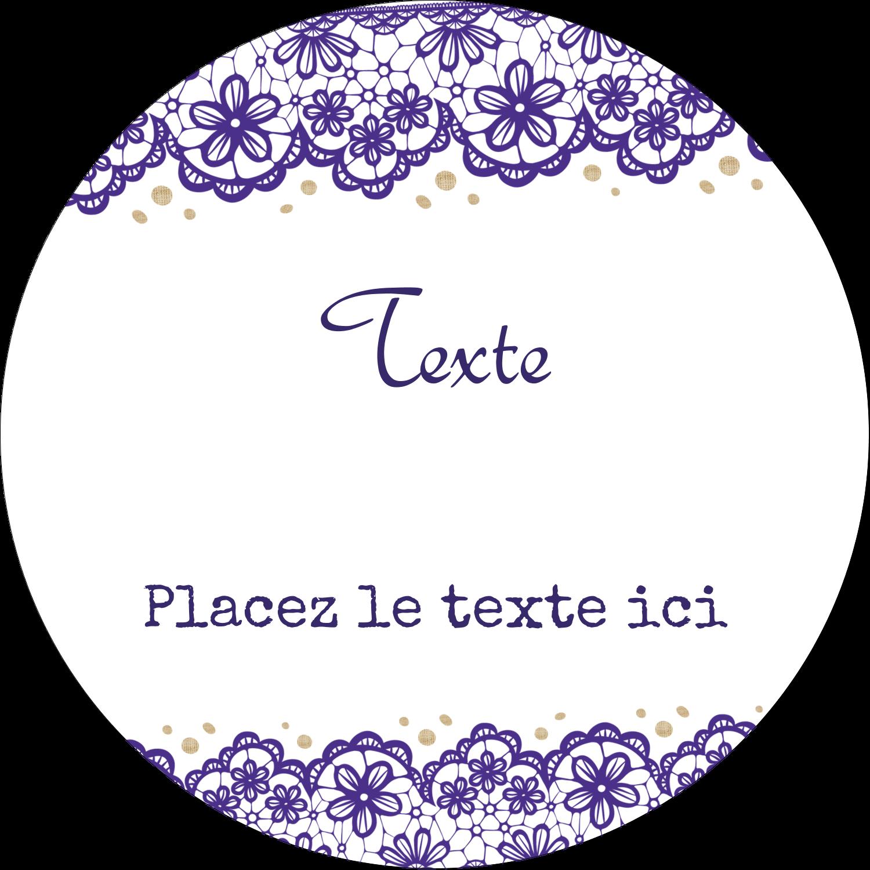 """4¾"""" x 3½"""" Étiquettes arrondies - Mariage en dentelle violette"""