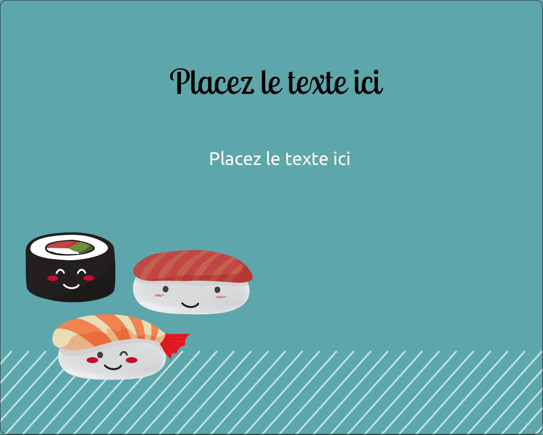 """2"""" Diameter Étiquettes rondes gaufrées - Émoticônes de sushis"""