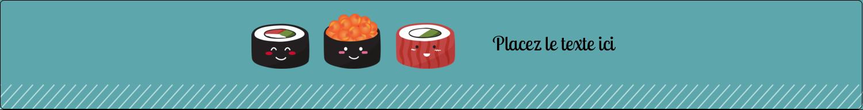 """1½"""" x 2½"""" Étiquettes ovales - Émoticônes de sushis"""